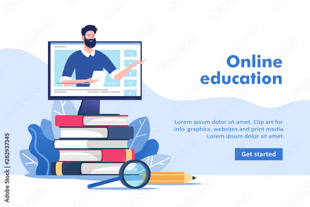 Fototapeta Online education or business training concept, study guides, exam preparation, home schooling. Pile of books and pc with mentor. Vector illustration for mobile and web graphics.
