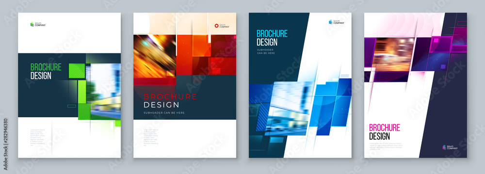 Fototapeta Set of Brochure Cover Template Layout Design. Corporate business annual report, catalog, magazine, flyer mockup. Creative modern bright concept with square shape