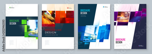 Fototapeta Set of Brochure Cover Template Layout Design. Corporate business annual report, catalog, magazine, flyer mockup. Creative modern bright concept with square shape obraz
