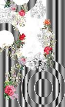 Geometric Lines Black White Flowers
