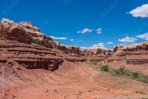 Landscape of large rock formations against the sky in Bluff, Utah