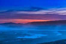 Foggy River At Sunrise