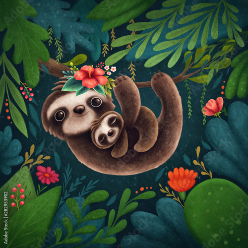 Canvas Print Cute sloths