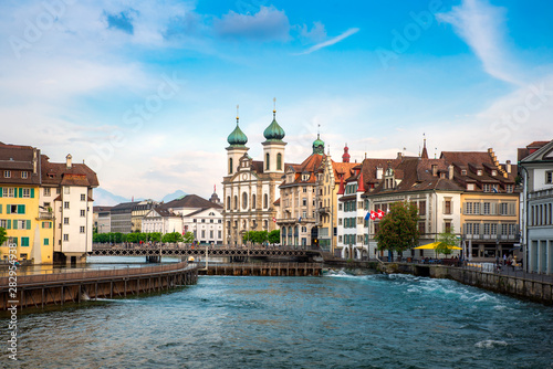 Fotografie, Obraz Beautiful historic city center of Lucerne with famous buildings and lake Lucerne