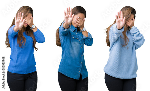 Collage of beautiful young woman over isolated background covering eyes with hands and doing stop gesture with sad and fear expression. Embarrassed and negative concept.