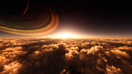 majestic cloud scenery with fantasy sky and ringed planet