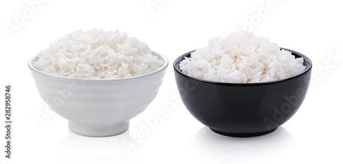 Fototapeta Cooked rice in ceramic bowl on white background obraz
