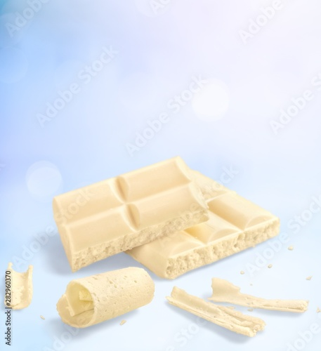 Sweet White Chocolate isolated on white background Canvas Print