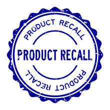 Grunge Blue Product Recall Word Round Rubber Seal Stamp On White Background