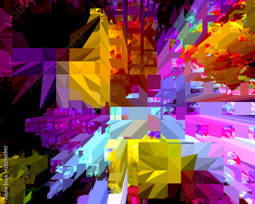 Cuadros en Lienzo Superficial Extrude 11B Brilliant Colored Abstract