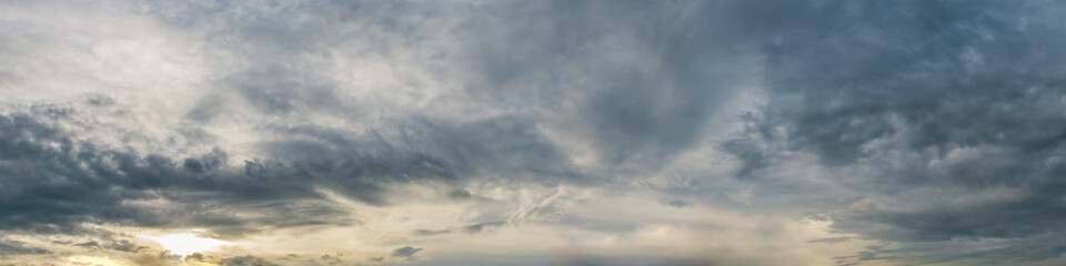 Dramatic panorama sky with storm cloud on a cloudy day. Panoramic image.