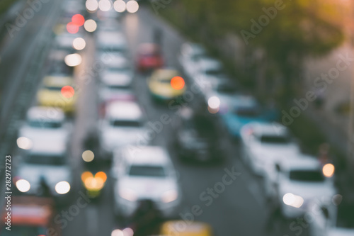 Abstract blur of traffic jam in the city Bangkok Thailand Wallpaper Mural