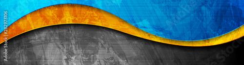Contrast orange and blue curved waves Tapéta, Fotótapéta