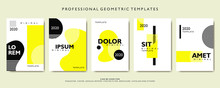 Geometric Poster Flyer Template. Seamless Pattern With Abstract Shapes. For Event, Sale, Magazine, Catalog, Annual Report And Creative Cover Layout Brochure. Promotion Publication On Yellow Background