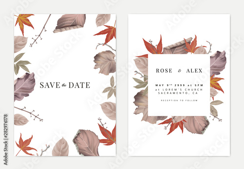 Photo  Botanical wedding invitation card template design, colorful dried leaves and bra