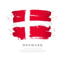 Flag Of Denmark. Brush Strokes...