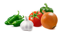 Tomato, Onion, Green Hot Pepper And Garlic Isolated On White Background
