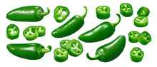 Green Chili Pepper Set Isolated On White Background