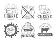 Vector cheese labels. Set of badges with cheese slices, milk jug, cow, plate, knife and fork. Vintage dairy logos.