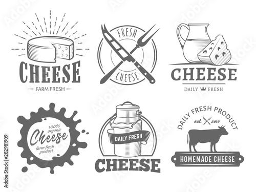Fototapeta Vector cheese labels. Set of badges with cheese slices, milk jug, cow, plate, knife and fork. Vintage dairy logos. obraz