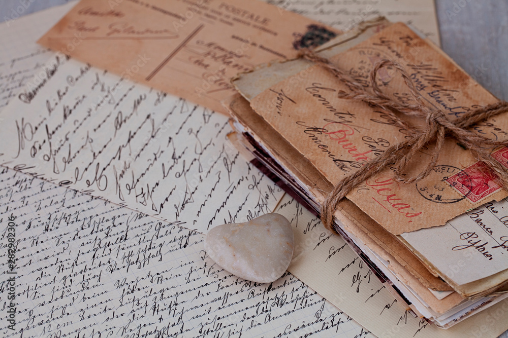 Fototapeta Nostalgic Still Life With Old Letters