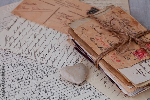 Cuadros en Lienzo Nostalgic Still Life With Old Letters