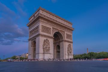 Fototapeta na wymiar Paris, France - 08 07 2019: Triumphal Arc of Paris at sunset