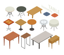 Set Of Isometric Furniture In Various Table Styles. Flat Design Style Minimal Vector Illustration.