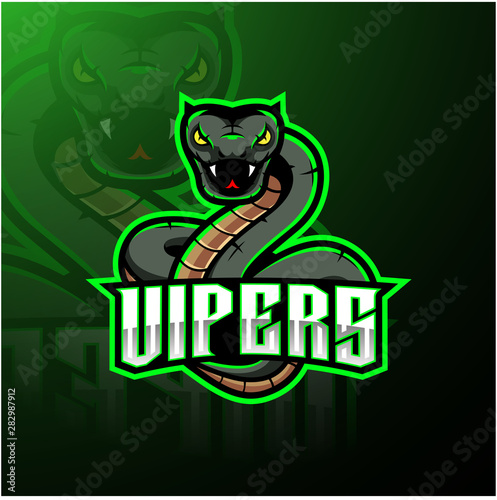 Green viper snake mascot logo design Slika na platnu