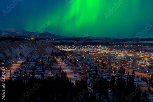 Northern Lights over Downtown Whitehorse Canvas Print