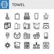 Set of towel icons such as Mirror, Incense, Aromatherapy, Towel, Paper towel, Yoga mat, Beach Napkin holder, Bib, Towels, Jacuzzi, Roll, Washing machine, Massage ,