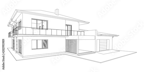 Leinwand Poster  Vector wireframe perspective of luxury modern house exterior