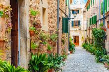 Street Of Valldemossa Old Mediterranean Village, Landmark Of Majorca, Spain Island
