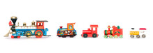 A Line Of Old Toy Trains Isolated
