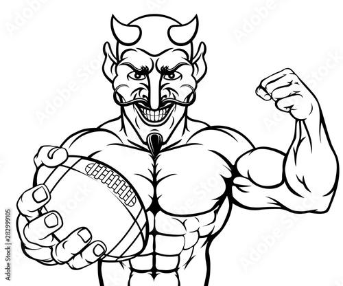 Photo  A devil Satan American Football sports mascot cartoon character man holding a ba