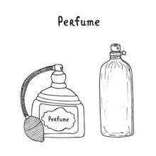 Perfume Bottle Set. Hande Draw...