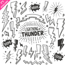 Lightning And Thunder Design Elements. Black And White Vector Doodle Illustration Set. Editable Stroke.
