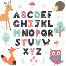Alphabet Poster With Cute Forest Animals. Wall Art For Kids