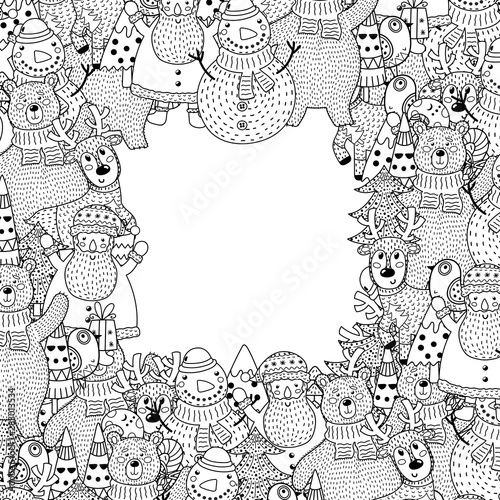Photographie Black and white Christmas frame in coloring page style