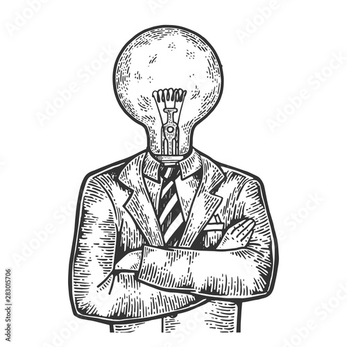 Cuadros en Lienzo Businessman with lamp bulb instead head sketch engraving vector illustration