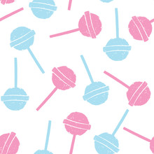 Pink And Blue Lollipops On White Background In Flat Style Design. Seamless Background With Candy, Minimalism Concept.