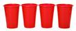 Leinwandbild Motiv Colored plastic cups isolated on white background