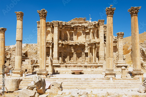 Ruins of the Nymphaeum in the Roman city of Gerasa (modern Jerash) in Jordan Canvas Print