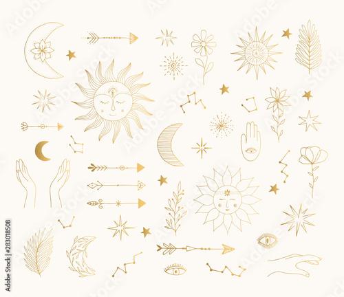 Hand Drawn Golden Mystic Symbols Sun Moon Star Tattoo Design Vector Gold Foil Isolated Illustration Buy This Stock Vector And Explore Similar Vectors At Adobe Stock Adobe Stock