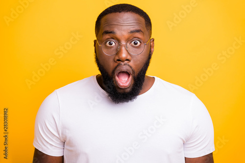 Close up photo of terrified feared american man understanding that he is late fo Canvas Print