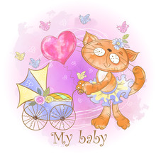 Mom Cat With A Baby In A Strol...