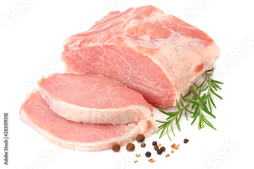 Stampa su Tela Raw pork meat isolated on white background