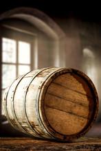 Wooden Barrel Background With Dark Interior View.