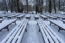 Benches In Riga Park In The Snow