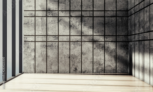 empty room with concrete wall interior, modern and grunge style, 3D rendering background